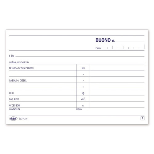 BUONI PRELEVAMENTO CARBURANTE LUBRIFICANTI 50/50FG AUTORICAL